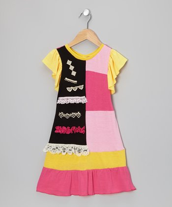 Pink & Yellow Patch Dress - Toddler & Girls