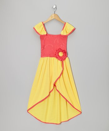 Fuchsia & Yellow Flower Dress - Toddler & Girls