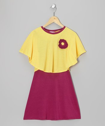 Plum & Yellow Dress & Cape-Sleeve Top - Infant, Toddler & Girls