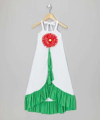 Red & White Flower Maxi Dress - Toddler & Girls