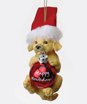 Golden Retriever Santa Puppy Ornament