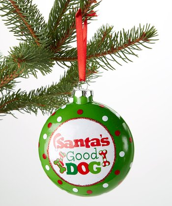 'Santa's Good Dog' Flat Ornament