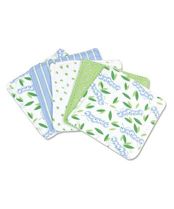 White & Blue Caterpillar Washcloth Set