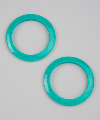 Green Marble Round Teething Bangle Set