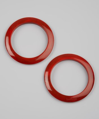 Red Marble Round Teething Bangle Set