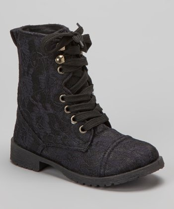 Black Lace Millie Combat Boot