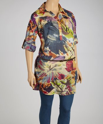 Purple & Blue Floral Tunic - Plus