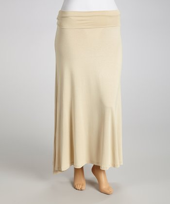 Mocha Fold-Over Maxi Skirt - Women