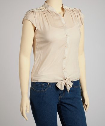 Taupe Tie Waist Top - Plus