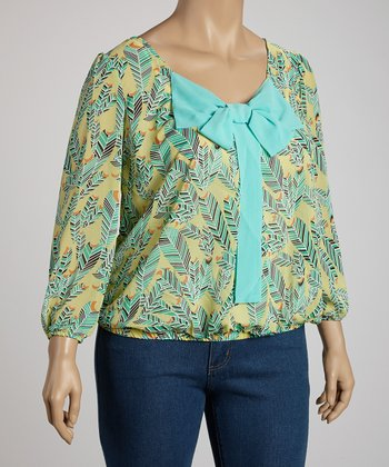 Aqua Feather Bow Top - Plus