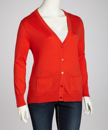 Red Pocket Cardigan - Plus