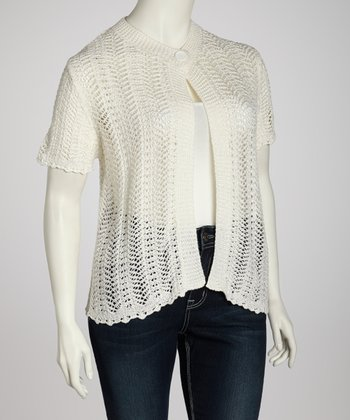 White Crocheted Cardigan - Plus