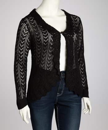 Black Ruffle Cardigan - Plus