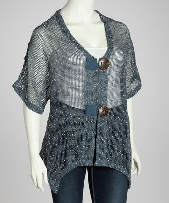 Denim Mesh Cardigan - Plus