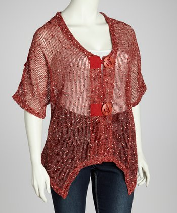 Terra-Cotta Mesh Cardigan - Plus