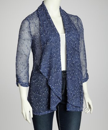 Cobalt Cozy Mesh Open Cardigan - Plus