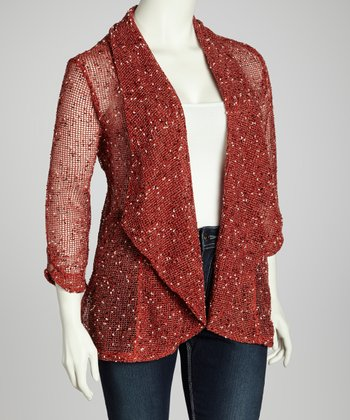 Terra-Cotta Cozy Mesh Open Cardigan - Plus