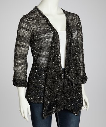 Black Only Mesh Open Cardigan - Plus