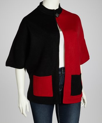 Red & Black Color Block Cardigan - Plus