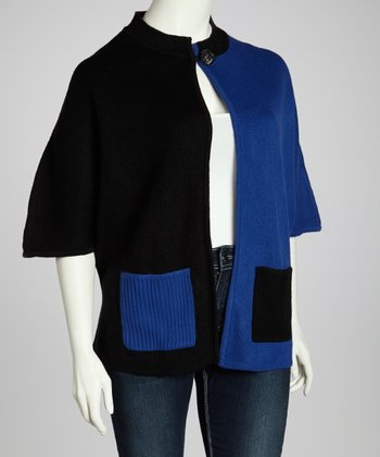 Royal & Black Color Block Cardigan - Plus