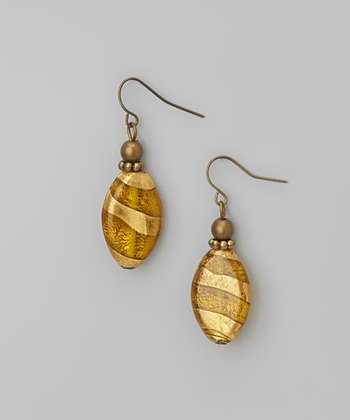 Gold Topaz Stripe Drop Earrings
