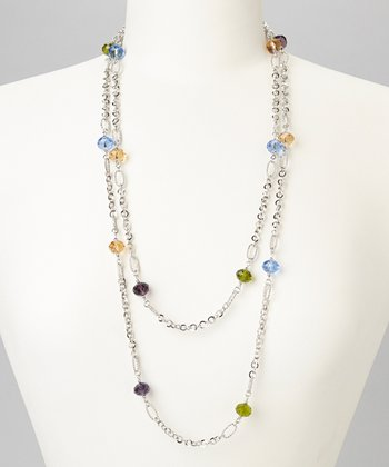 Blue & Silver Faceted Bead Station Necklace