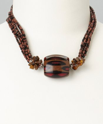 Brown & Jet Black Rocaille Beaded Strand Necklace