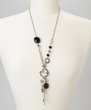 Black & Silver Beaded Tassel Necklace