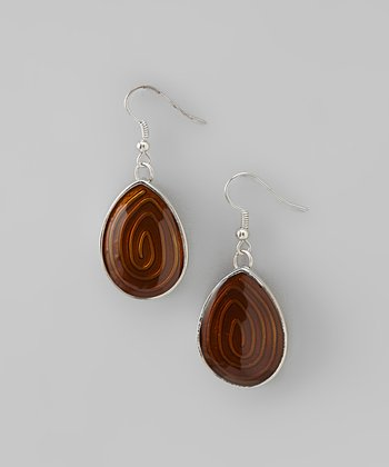 Brown Swirl Teardrop Earrings