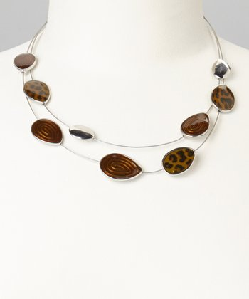 Brown Swirl Teardrop Necklace