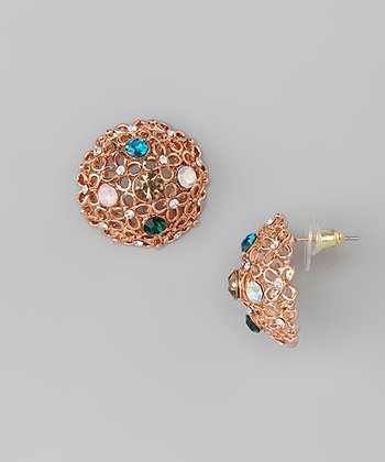 Copper & Rhinestone Floral Stud Earrings