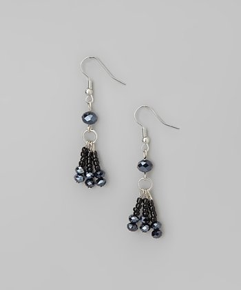 Jet Black & Hematite Beaded Fringe Earrings