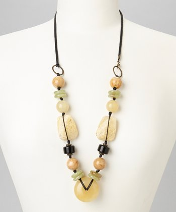 Neutral & Black Lucite Beaded Pendant Necklace