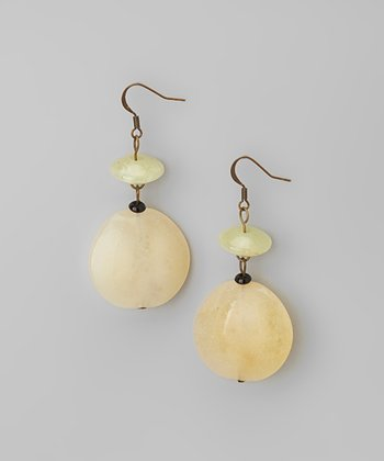 Neutral Beige Lucite Drop Earrings