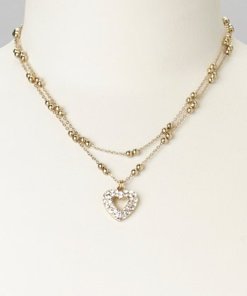 Gold Pavé Heart Pendant Necklace