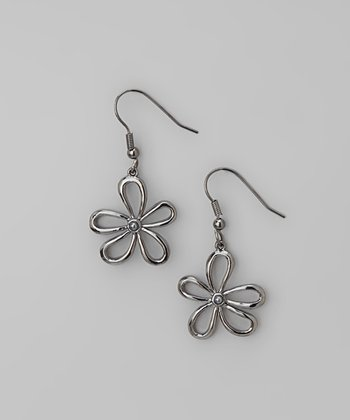 Hematite Flower Drop Earrings