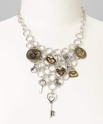 Gold & Silver Lock & Key Bib Necklace