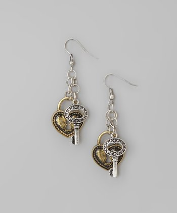 Gold & Silver Lock & Key Drop Earrings