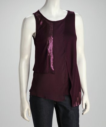 Grape Crush Sequin Draped Tank