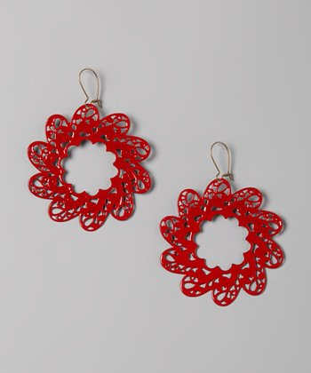Red Around The World Earrings