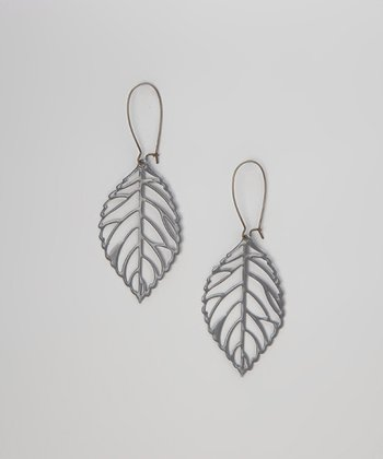 Gray Vintage Leaf Earrings