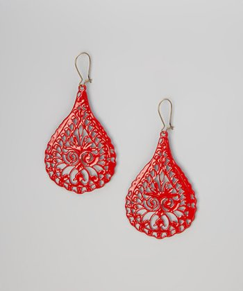 Red Peacock Earrings