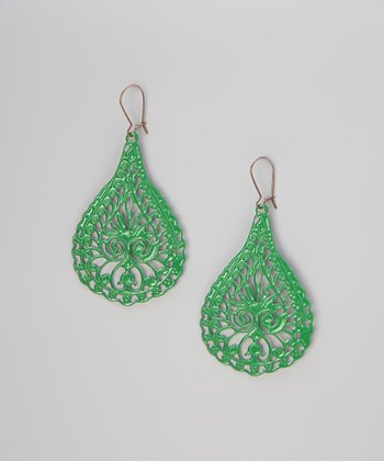 Kelly Green Peacock Earrings