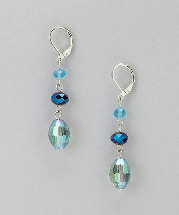 Blue Glass Triple Drop Earrings