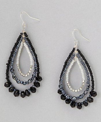 Black & Gray Glass Bead Teardrop Earrings