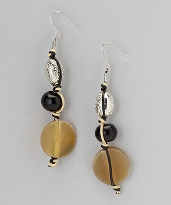 Natural Tan & Black Lucite Triple Drop Earrings