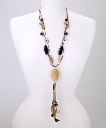 Natural Tan & Black Lucite Y Necklace
