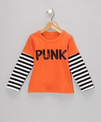 Orange & Black Stripe 'Punk' Layered Tee - Toddler & Kids