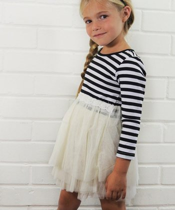 Navy & White Stripe & Lace Dress - Toddler & Girls