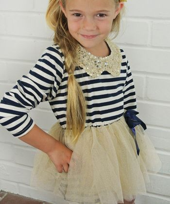 Navy Stripe Sequin Collar Dress - Toddler & Girls